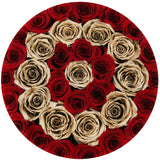 Premium - Red Eternity Roses With Gold Circles - Shiny Gold Box - The Million Roses Europe