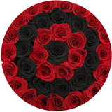 Medium - Red Eternity Roses With Black Circles - Black Box