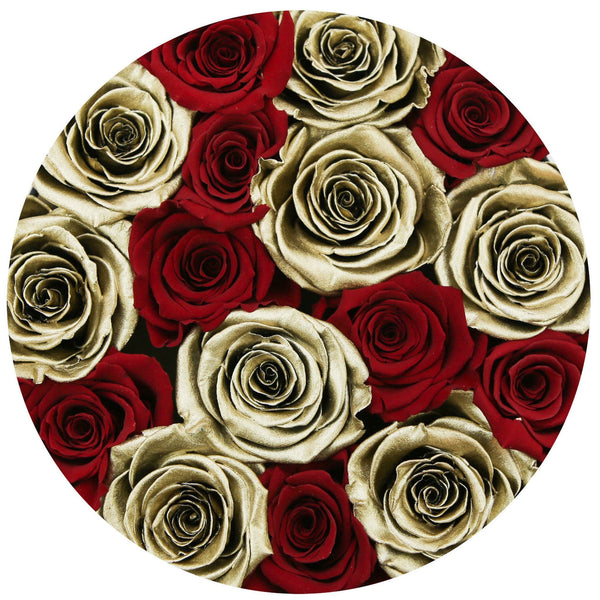Classic - Red & Gold Eternity Roses - Black Box - The Million Roses Europe