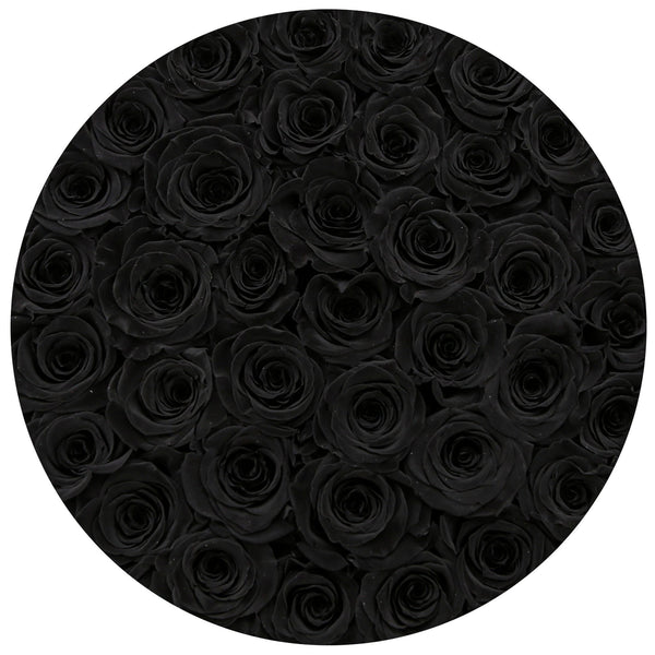 Premium - Black Eternity Roses - Royal Blue Suede Box - The Million Roses Europe