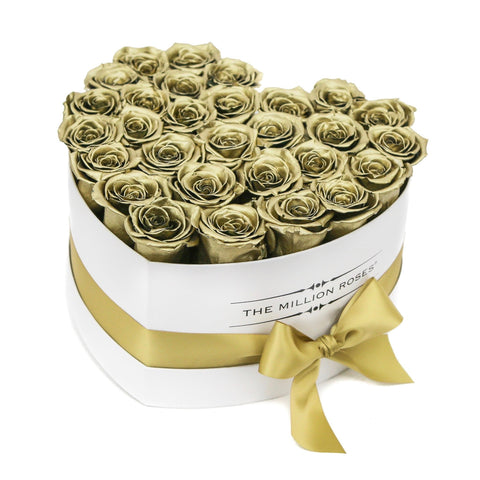 The Million Love Heart - Gold Eternity Roses - White Box - The Million Roses Europe
