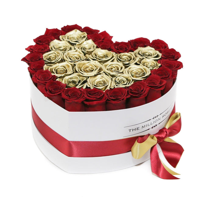 The Million Roses Europe - The Million Love Heart - Red/Gold Eternity Roses - White Box Delivered Anywhere in Europe