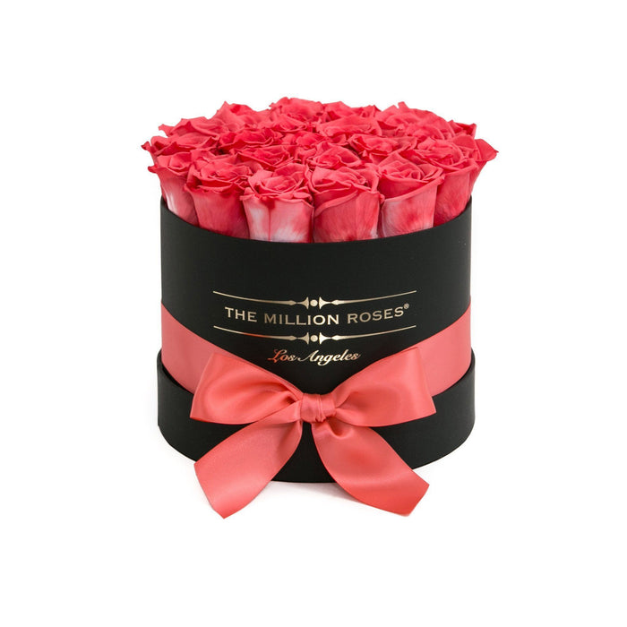 Small - Coral Eternity Roses - Black Box