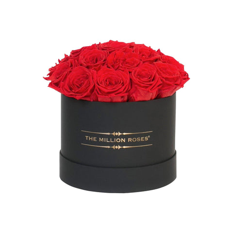 "Small - Red Eternity Roses ""Sphere"" - Black Box - The Million Roses Europe"