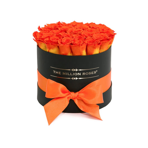 Classic - Hermès Orange Eternity Roses - Black Box - The Million Roses Europe