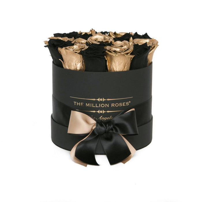 Small - Black & Gold Eternity Roses - Black Box