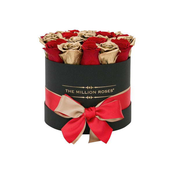 The Million Roses Europe - Small - Red & Gold Eternity Roses - Black Box Delivered Anywhere in Europe