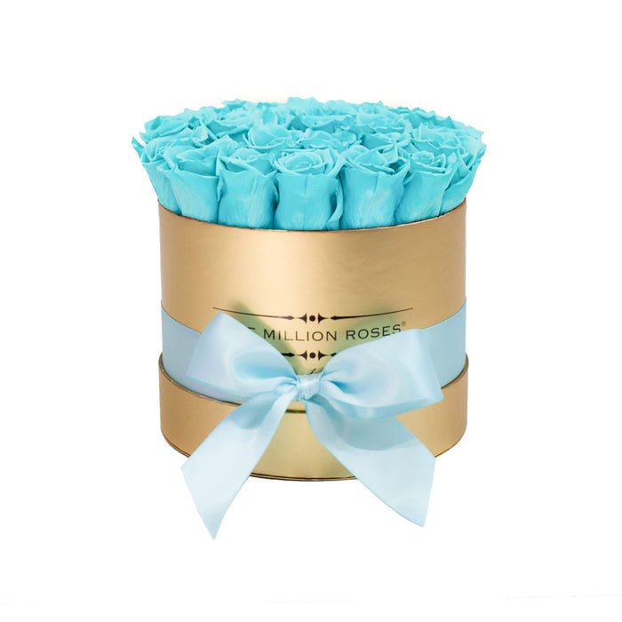 Small - Tiffany Blue Eternity Roses - Gold Box