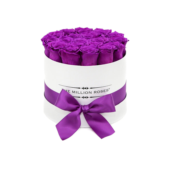 The Million Roses Europe - Small - Purple Eternity Roses - White Box Delivered Anywhere in Europe