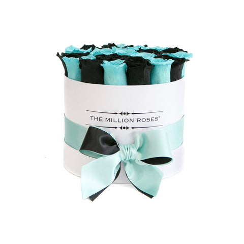 Classic - Tiffany Blue & Black Eternity Roses - White Box - The Million Roses Europe