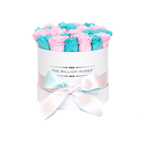 Classic - Tiffany Blue & Candy Pink Eternity Roses - White Box - The Million Roses Europe