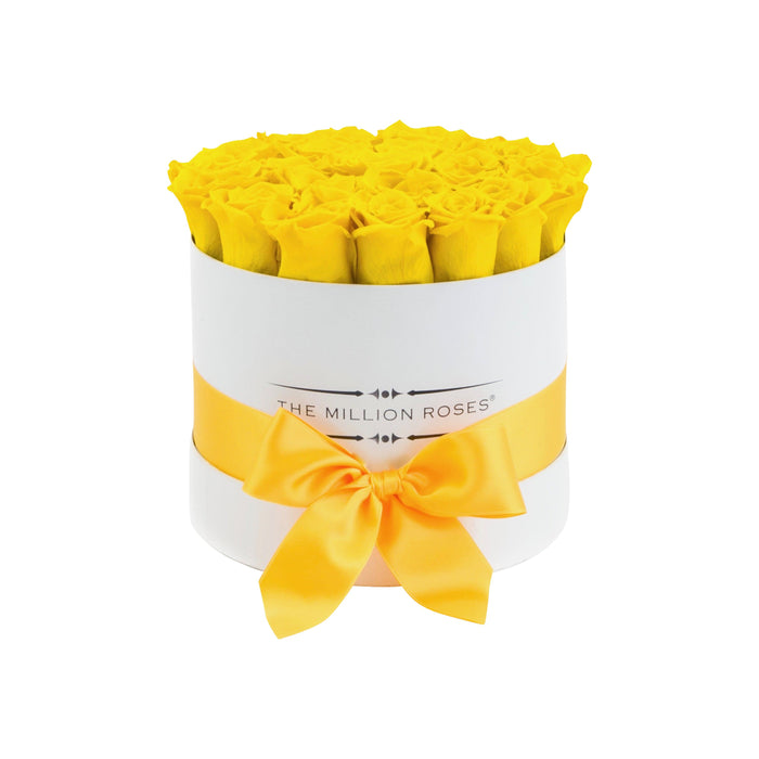 The Million Roses Europe - Small - Light Yellow Eternity Roses - White Box Delivered Anywhere in Europe