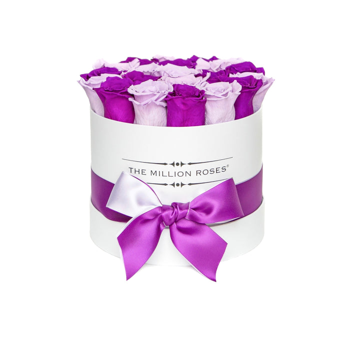 Small - Purple & Lavender Eternity Roses - White Box