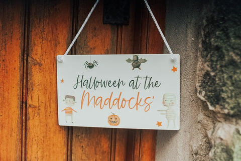 Halloween party family sign