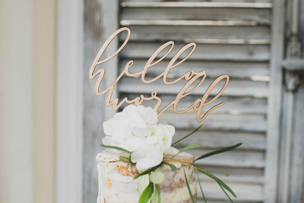 hello world cake topper