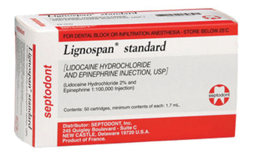 Lignospan Cartr Stndr 2% w/Epi 1:100,000Red 50/Cn