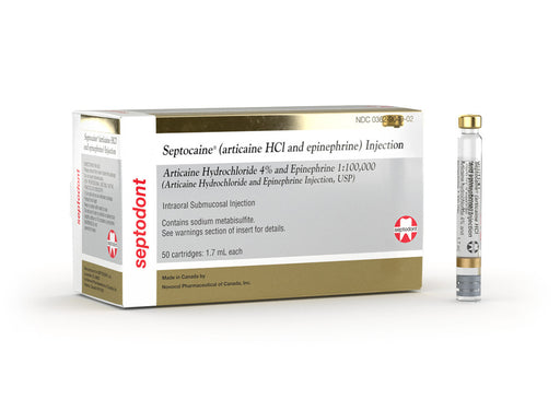 Septocaine Cartridges 4% w/Epi 1:100,000 50/Bx
