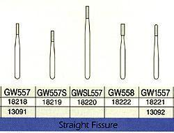 SS White Great White Gold Carbide Burs 100/Pk GW #557