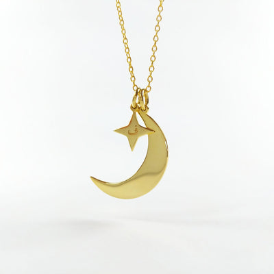 Moon & Stars Arabic Necklace 925 Sterling Silver