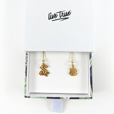 Arabic Initial Threader Earrings