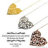 Personalized Arabic Calligraphy Heart-Shaped Necklace
