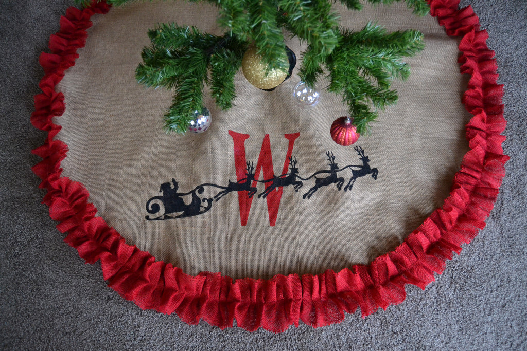 santa burlap tree skirt personalized tree skirt monogramed custom tree skirt christmas tree