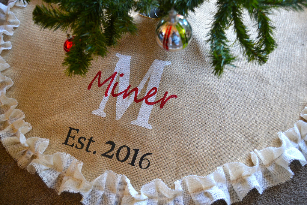 Tree Skirt Burlap Tree Skirt  Christmas Tree Est.date Wedding Gift Tree  Skirt Monogrammed
