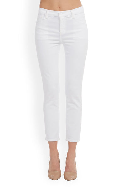 J Brand Ruby High-Rise Cropped Cigarette Jean in Blanc