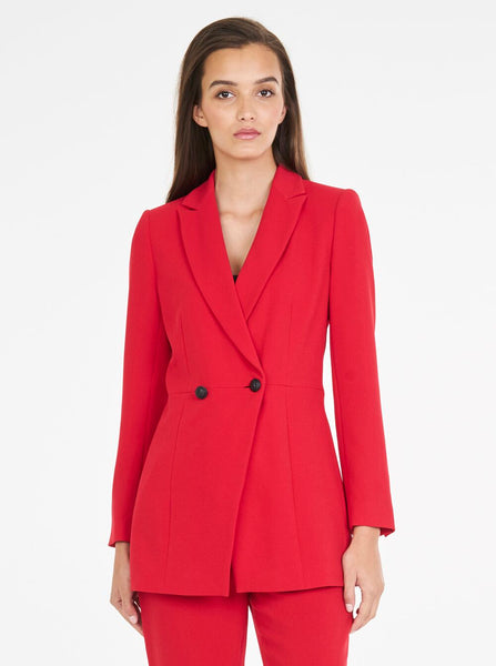 Luxe Deluxe Borderline Longline Blazer in Crimson