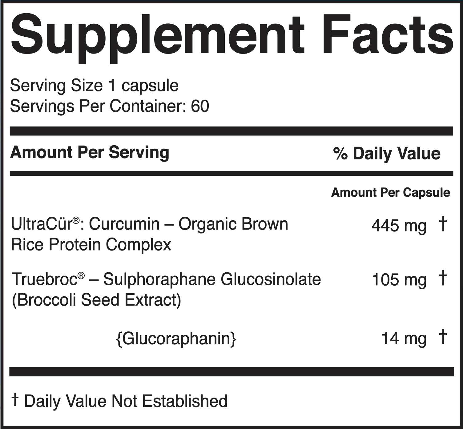 NeuralBroc Supplement Facts Panel