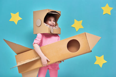 Cardboard rocket ship costume