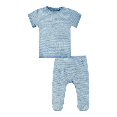 Baby S/S Stripe Tee and Footie Pant Tie Dye Set-Layette
