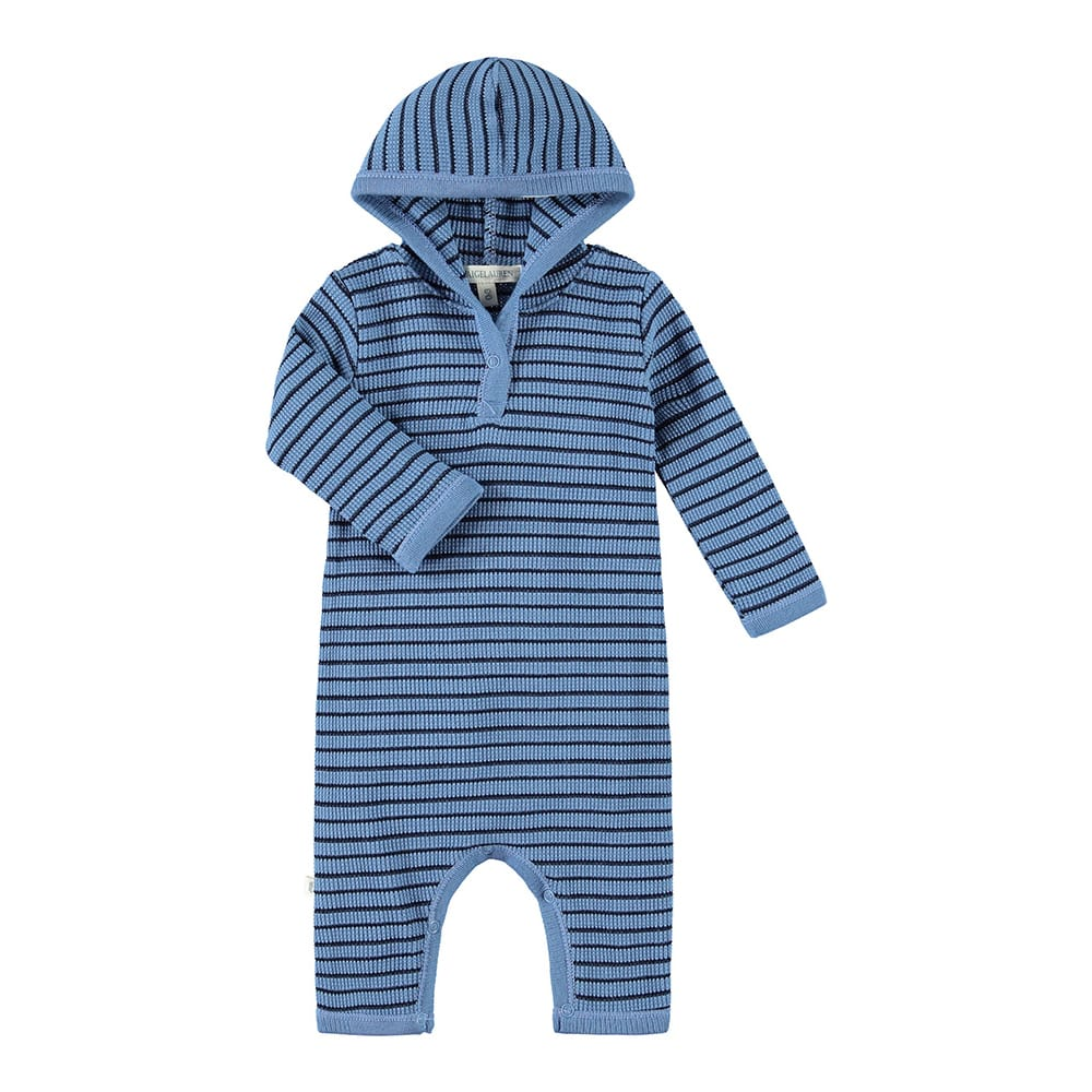 Baby Thermal Stripe Romper W/Hoodie-Planet - PAIGELAUREN