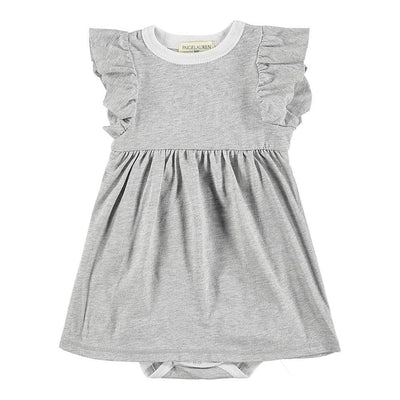 Baby Heathered Jersey Ruffle Dress W/Bodysuit-Peace & Love - PAIGELAUREN
