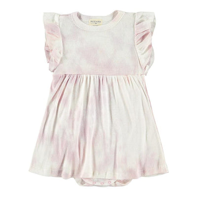 Baby 2X1 Tie Dye Rib Ruffle Dress W/Bodysuit-Peace & Love - PAIGELAUREN