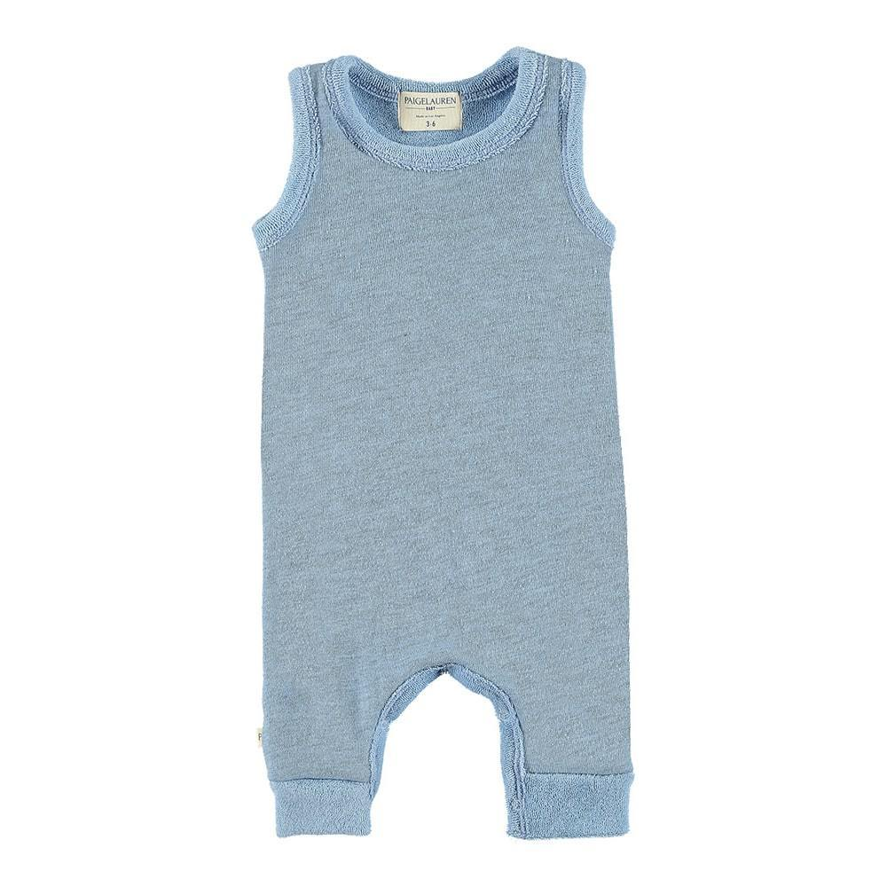 Baby Loop Terry Tank Pull Over Romper-Peace & Love - PAIGELAUREN