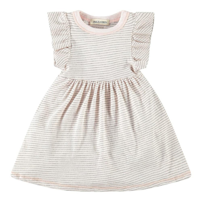 Baby Ruffle Sleeve Mini Stripe Dress W/Bodysuit-Zen - PAIGELAUREN