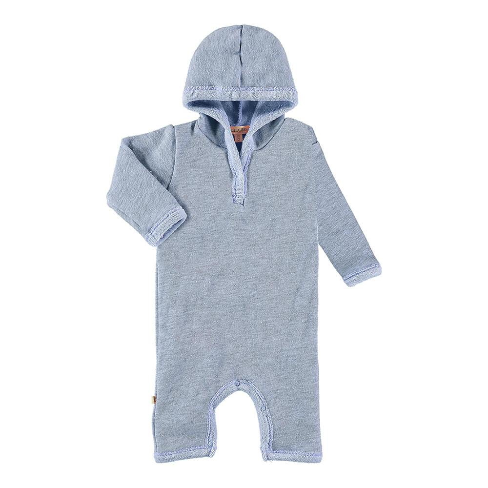 Baby Hoodie Heathered Loop Terry Romper-Peace & Love - PAIGELAUREN