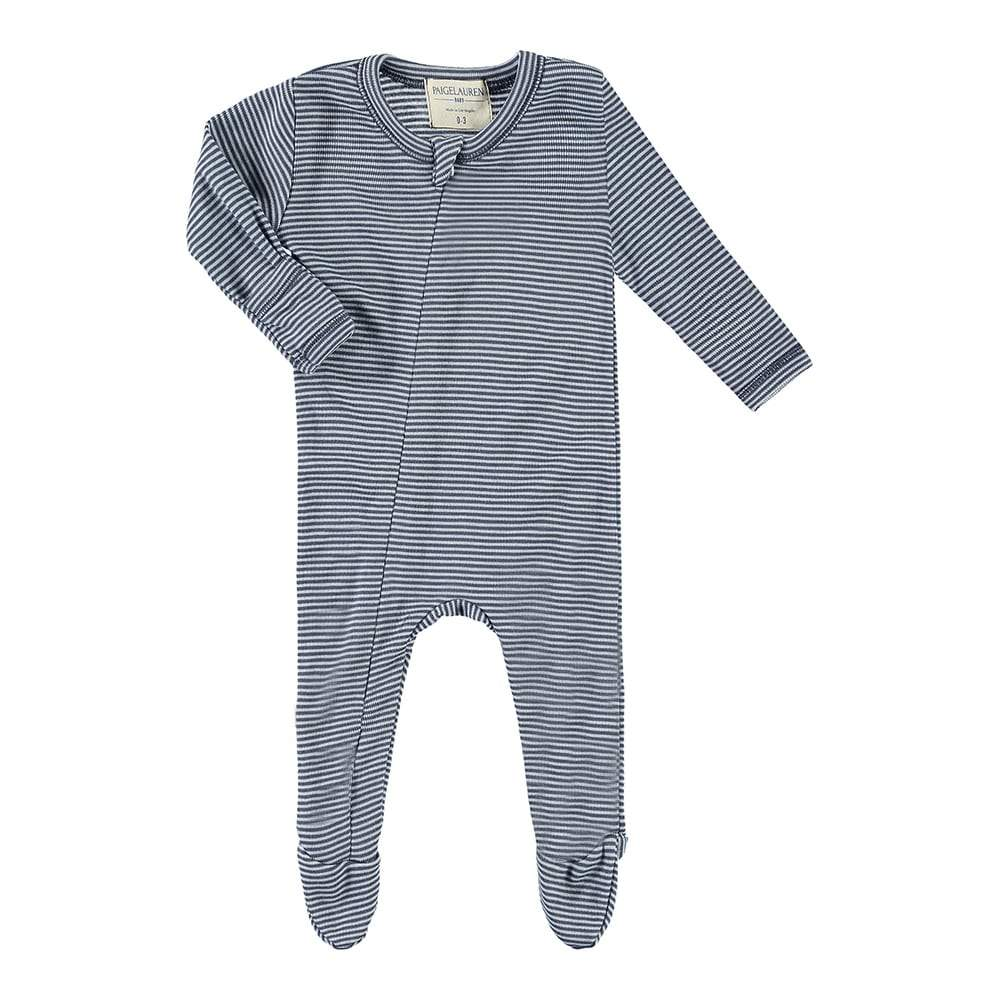 Baby Stripe Seamless Zipper Footie Romper-Peace & Love - PAIGELAUREN