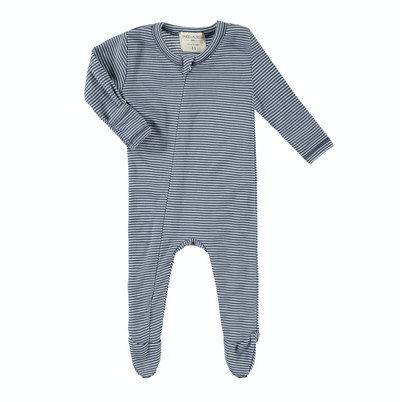Baby Summer Stripe Seamless Zipper Footie Romper-Peace & Love