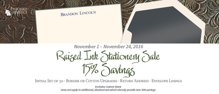 15% off Notepads, Raised Ink Stationery | $3 Off Keepsake Ornaments