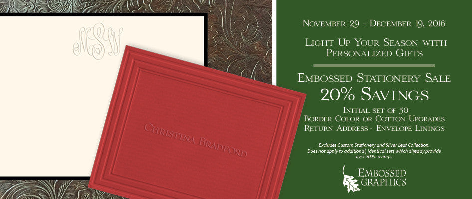 20% off Embossed Stationery