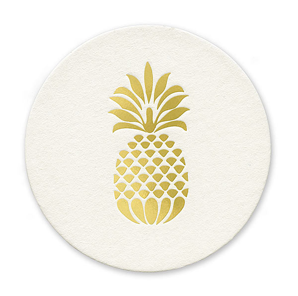 Gold Foil Stamped Pineapple Coasters