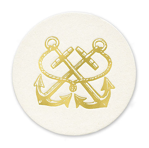 Gold Foil Stamped Anchor Coasters