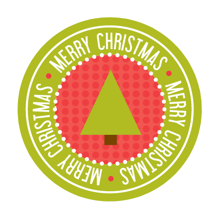Merry Christmas Sticker - Tree