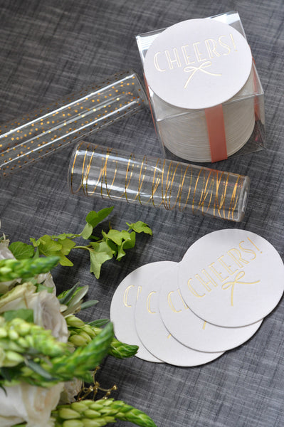 Gold Foil Stamped Cheers Coasters