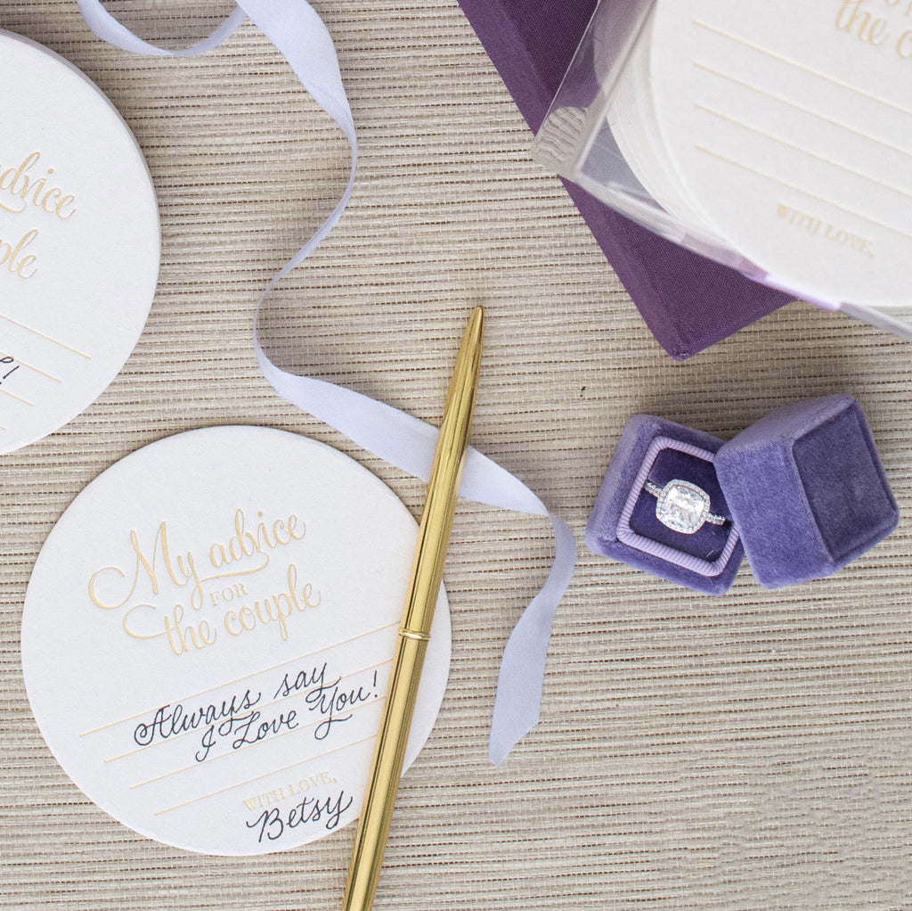 Gold Foil Stamped Advice Coasters
