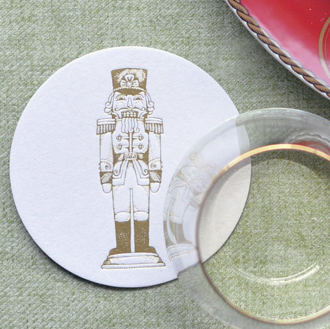Gold Foil Stamped Nutcracker Coasters