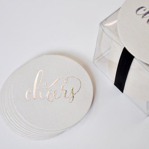 Silver Sparkle Foil Stamped Cheers Coasters