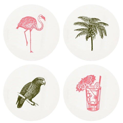 Letterpress Tropical Coasters